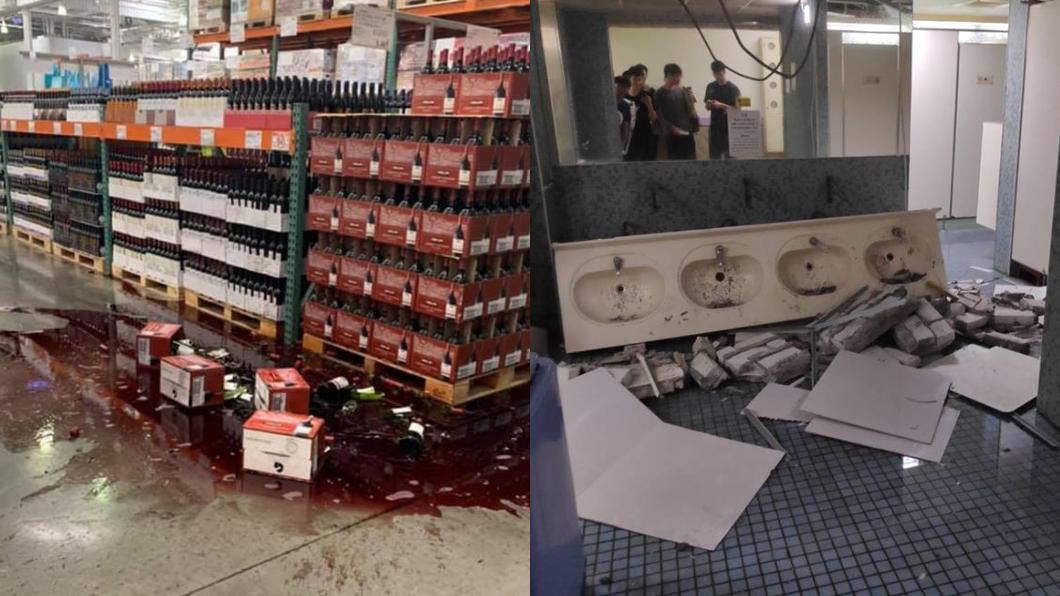 好市多酒瓶碎裂、台灣師範大學宿舍廁所洗水台也被震垮。圖/翻攝自臉書 強震超有感!網曝1張圖神解:從「這點」看出哪裡人