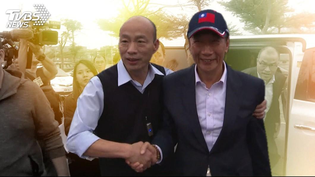 高雄市長韓國瑜(左)、鴻海董事長郭台銘(右)。圖/TVBS 民進黨誰也不怕?羅智強爆:綠營最怕韓、郭「做這件事」