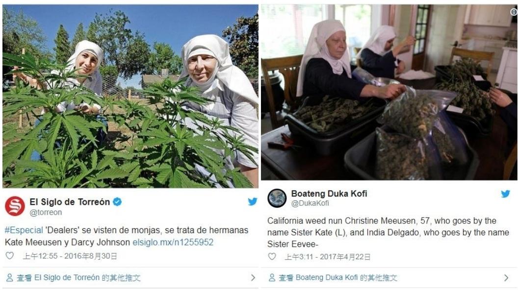 目前修女們正積極研發大麻其他藥效,希望能幫助癌症和癲癇患者。(圖/翻攝自推特)