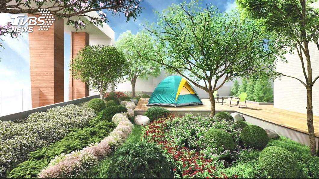 圖/TVBS 新趨勢! 建案頂樓設露營區 「車庫挑高」3米