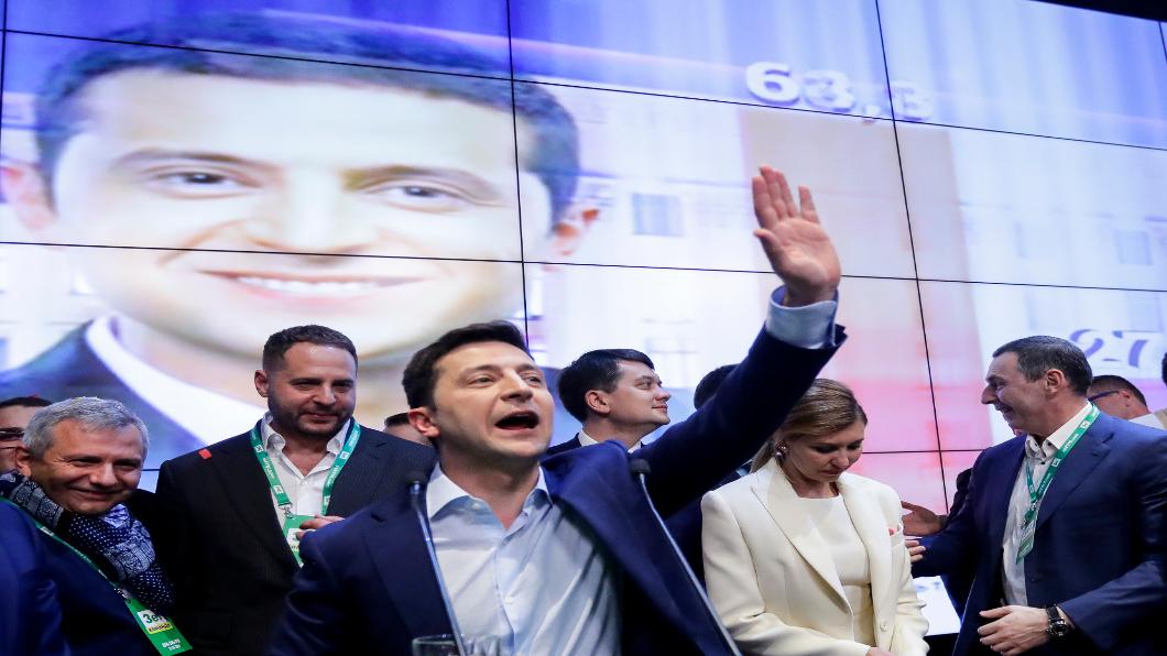 圖/達志影像美聯社 烏克蘭新總統 素人喜劇演員大勝現任總統