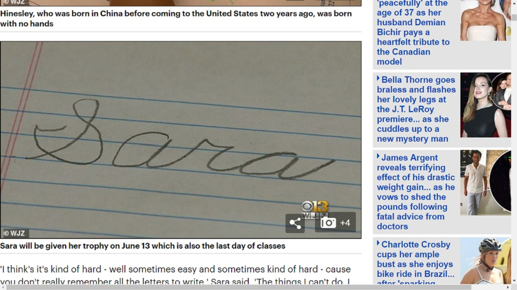 莎拉認為書寫體是藝術。圖/翻攝自《每日郵報》