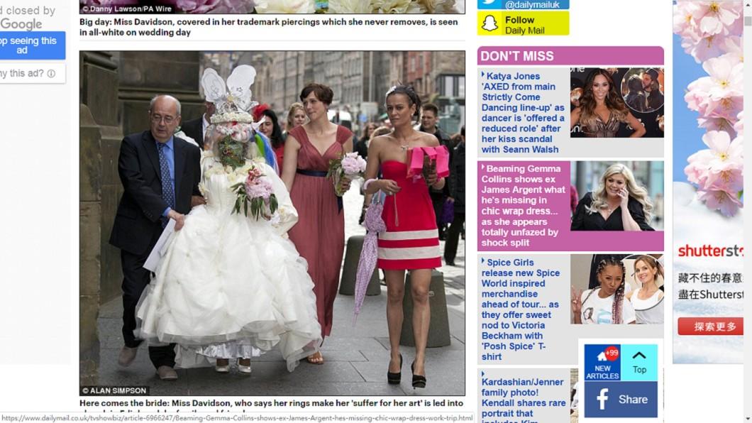 結婚當天,誇張的化妝及首飾,完全看不出真實樣貌。圖/翻攝自《每日郵報》