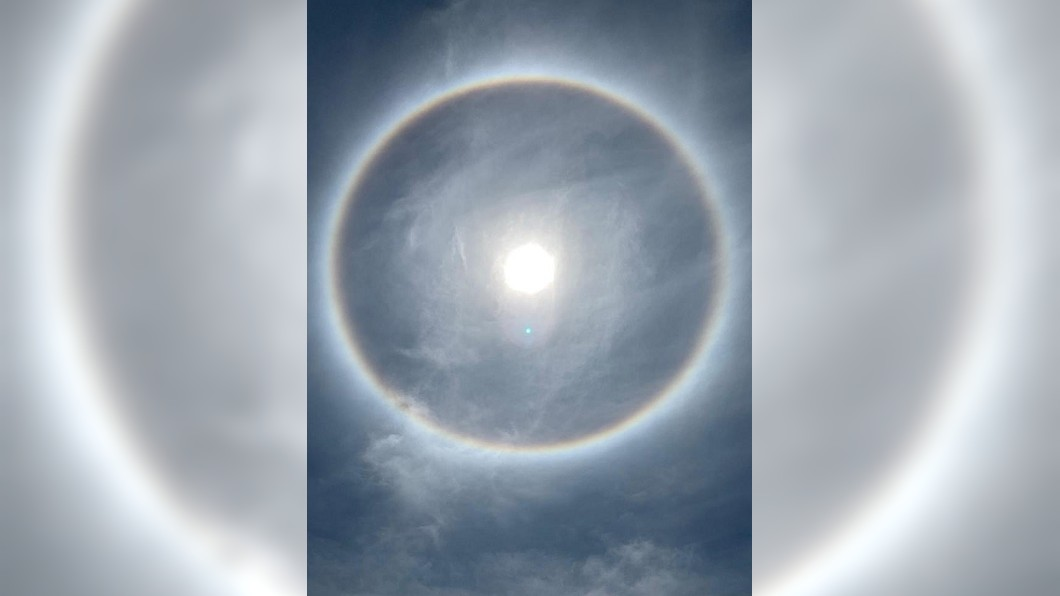 台東市出現難得一見的清楚日暈。圖/翻攝自鄭明典FB 難得一見!「日暈」奇景台東現身 巨大彩虹圈圈環繞太陽