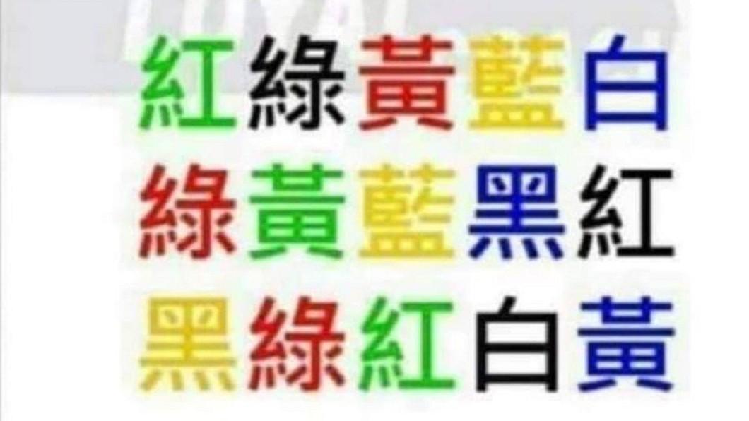 圖/爆笑公社 能唸幾個?挑戰「看字唸顏色」 網崩潰:氣到揍螢幕