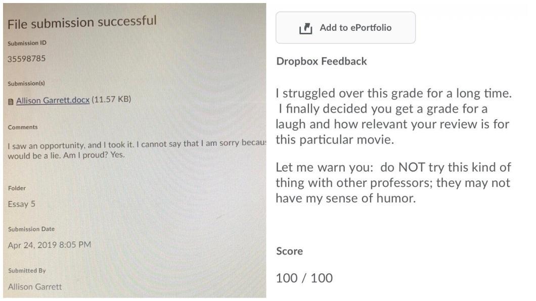 沒想到教授最後給了滿分的評價。(圖/翻攝自推特)