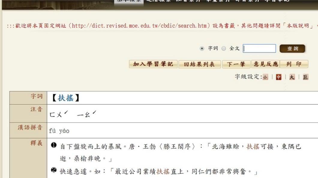 圖/翻攝自教育部國語辭典網站