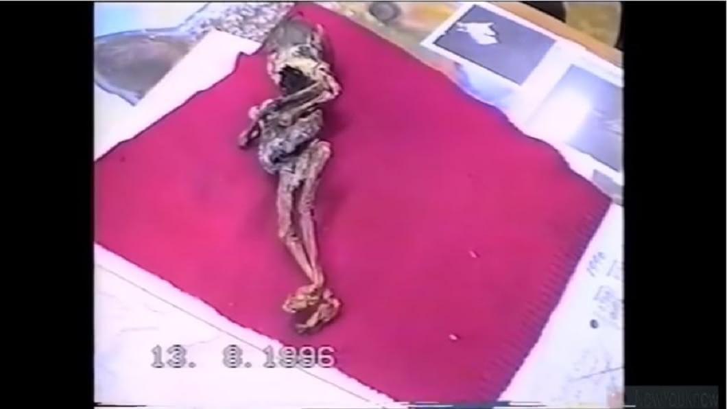 俄羅斯一名婦人在20年多前撿到一具疑似外星人的嬰兒。(圖/翻攝自YouTube)