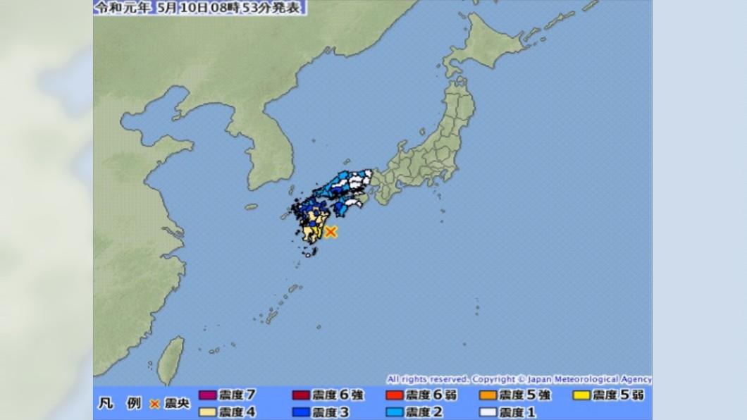 圖/翻攝自日本氣象廳 小學朝會突天搖地動 日本宮崎連環震2人傷