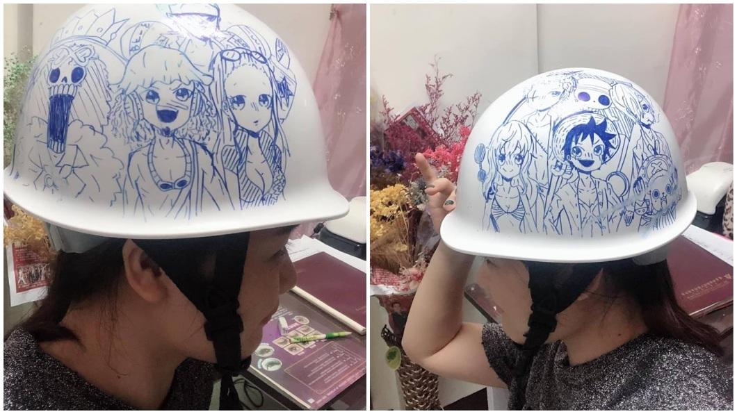 一名人父分享自己小六女兒在他工地安全帽上的塗鴉,網友們看了全都讚嘆不已。(圖/翻攝自爆廢公社)