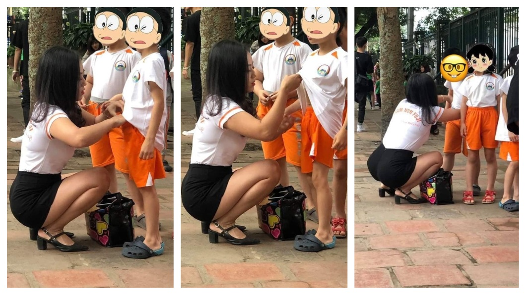 一名長相甜美且身材火辣的女老師,正蹲在地上幫孩子們整理衣物。(圖/翻攝自臉書) 幼稚園老師幫孩子整理衣服…甜美擁火辣身材 爸爸們嗨翻