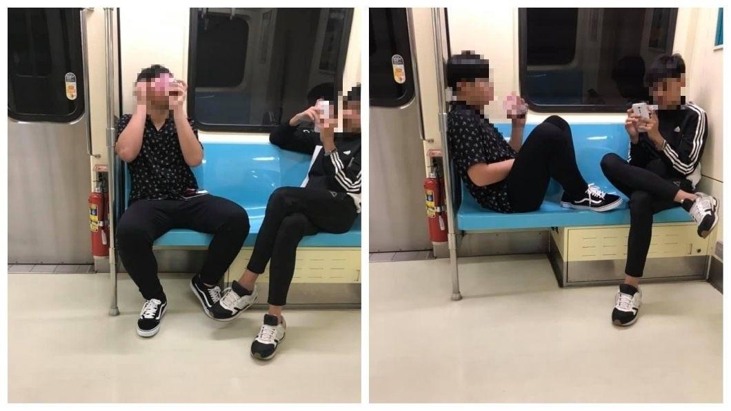 有民眾目擊有2名男學生在捷運上喝飲料,甚至腳還放在椅子上,過程中還吵吵鬧鬧,引發網友抨擊。(圖/翻攝自爆怨公社)