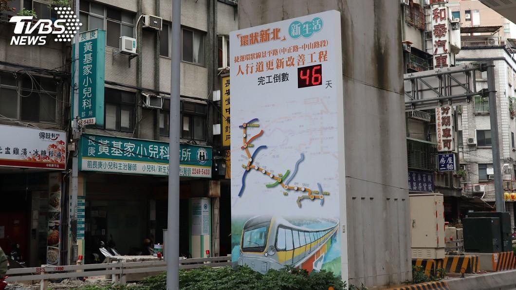 圖/中央社 捷運環狀線周邊工程 設電子看板進行完工倒數