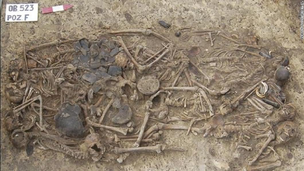 考古學家在波蘭南部發現一處墓穴,距今大約5千年。(圖/翻攝自美國國家科學院院刊官網) 古墓埋葬15具遺骸…距今5千年 專家:一家三代遭屠殺