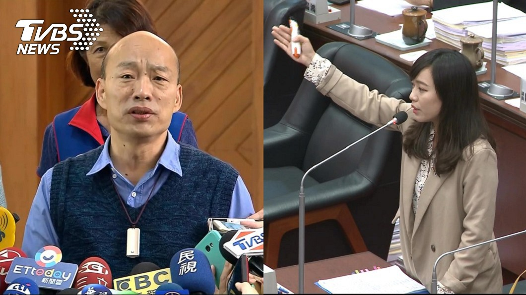 高雄市長韓國瑜(左)、時代力量高雄市議員黃捷(右)。圖/TVBS    高雄不要落跑市長 黃捷批韓「過水政客」玩弄89萬市民