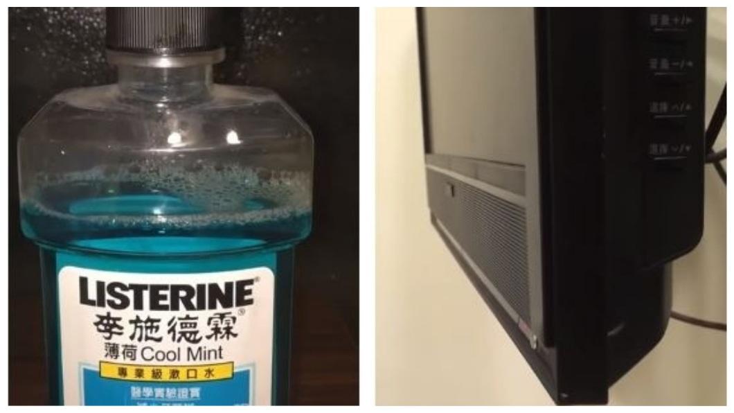 網友將當時放在屋內的漱口水和掛在牆壁的電視晃動情況拍下來。(圖/翻攝自PTT)
