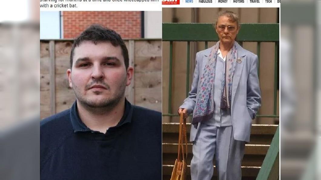 克里斯(左)飽受養母(右)虐待13年。圖/翻攝自太陽報 天堂變地獄!變態養母逼吞嘔吐物 姊弟裸體關房1個月