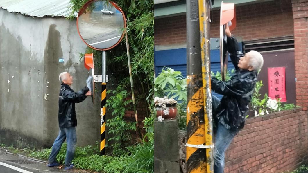圖/翻攝臉書爆廢公社 新竹大暴雨!巷內見阿伯爬牆「擦反光鏡」:看不到危險