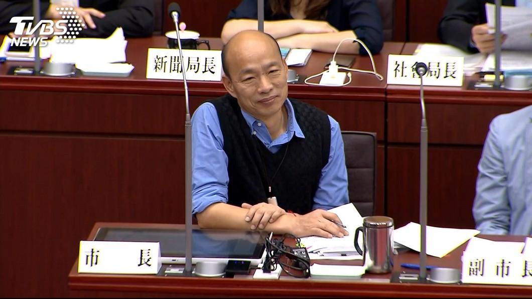韓國瑜今日出席市政總質詢。圖/TVBS 嘆中央「卡韓」? 韓國瑜:外交部阻攔外賓跟我見面