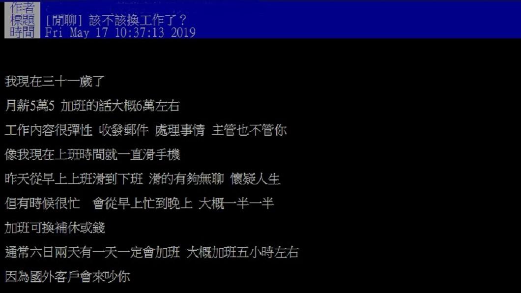 網友表示,雖然工作穩定,但沒什麼升遷的空間,因此好奇詢問「該換工作嗎」。圖/翻攝自PTT
