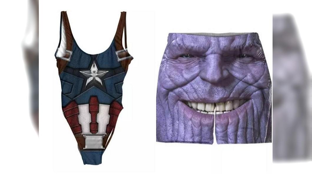另外還有美國隊長連身泳衣、薩諾斯泳褲可選購。圖/翻攝belovedshirts.com
