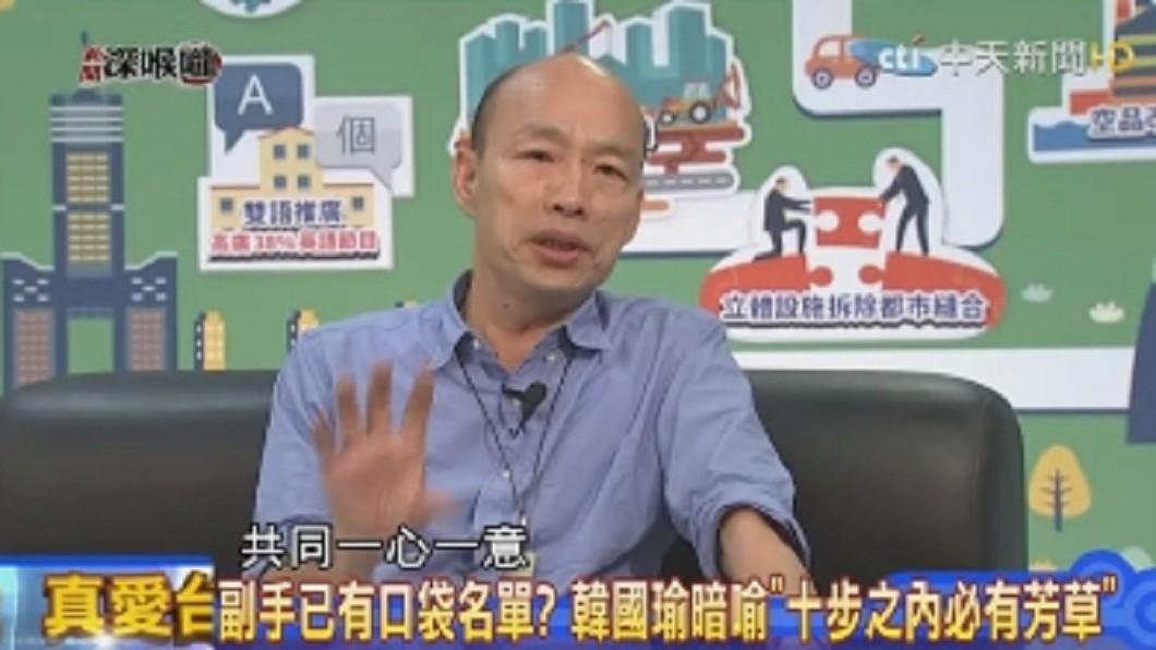 韓國瑜表示心中尚未有副手人選,但有相同價值觀最重要。圖/翻攝Youtube