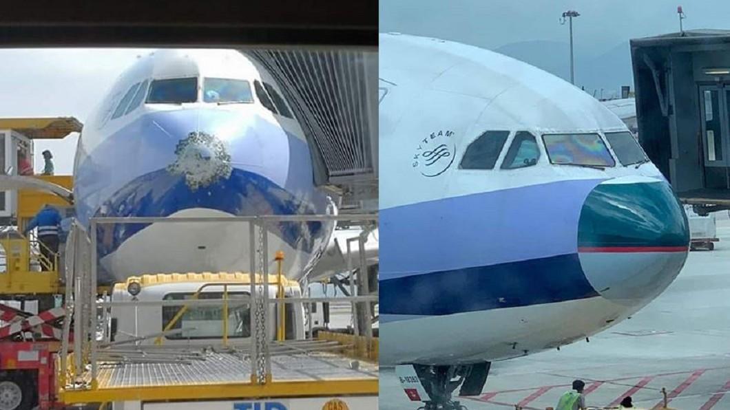 華航飛機遭雷擊,只好向國泰借機鼻,喜感瞬間暴增。圖/翻攝自批踢踢