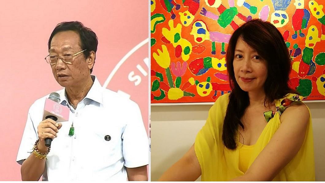 前主播蕭裔芬(右)日前爆料鴻海董事長郭台銘(左)在意老人斑往事。圖/TVBS、翻攝自蕭裔芬臉書