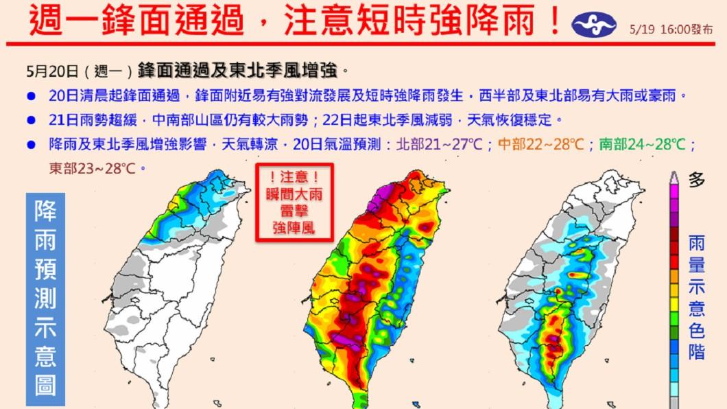 氣象局表示週一(20日)有峰面通過,提醒民眾注意短時強降雨。圖/翻攝報天氣 - 中央氣象局臉書