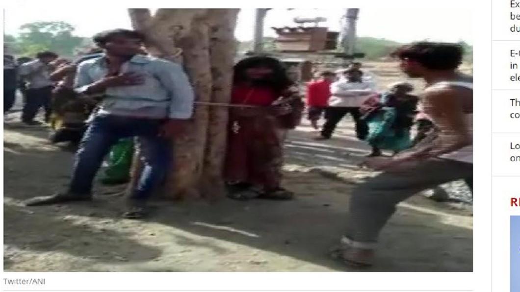 男子與其表妹被綁在樹上狠打。圖/翻攝自「India Today」 動私刑!小王帶2表妹勾人妻私奔 3人遭虐打數小時