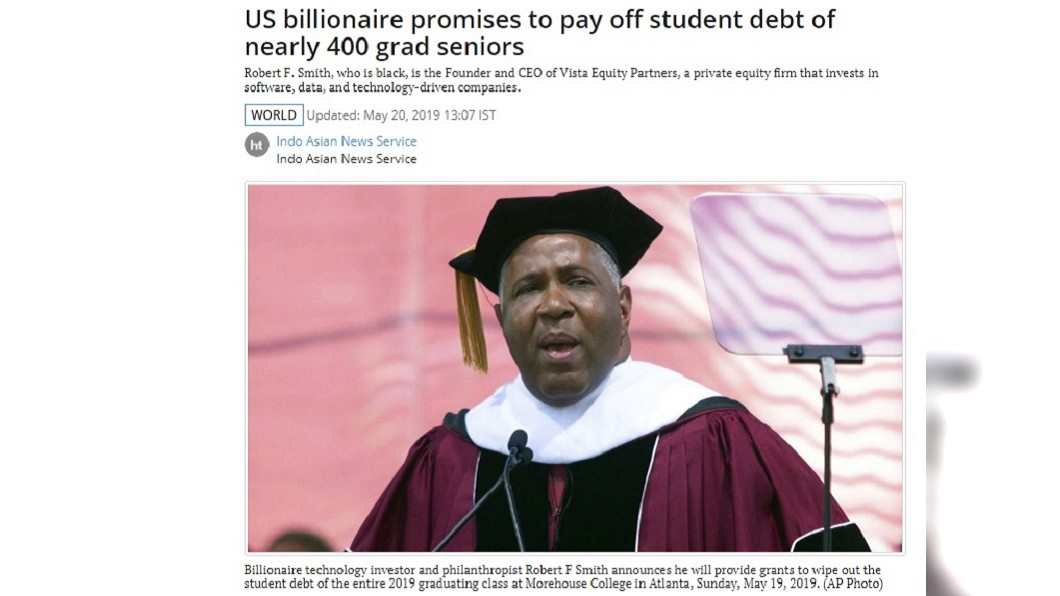 圖/翻攝自Hindustan Times 美富商送大禮捐12.5億 畢業生學貸他「全包了」