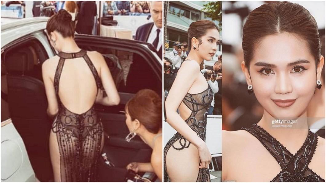 鄧玉貞參加坎城影展穿的禮服,因太過裸露引起話題。圖/翻攝Ngọc Trinh IG