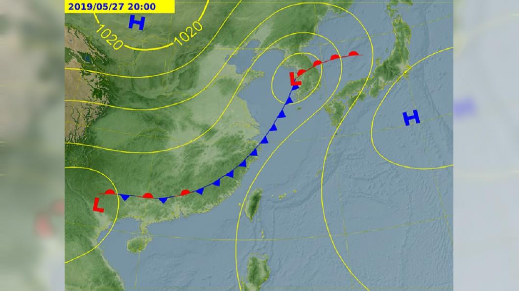 下週一、週二將有鋒面報到,慎防大雨。圖/中央氣象局