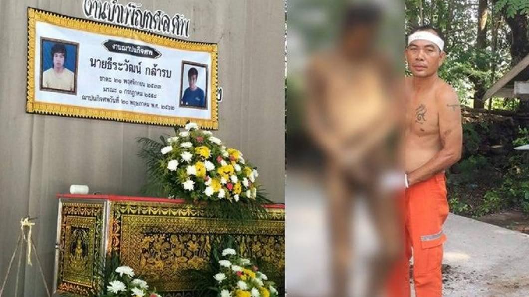 泰國一名男子下葬4年,近期家屬將遺體挖出要將他火葬,竟發現他的遺體竟然完好如初。(圖/翻攝自泰國每日新聞網推特) 驚!男下葬4年宛如木乃伊 沒注福馬林遺體完好還能站