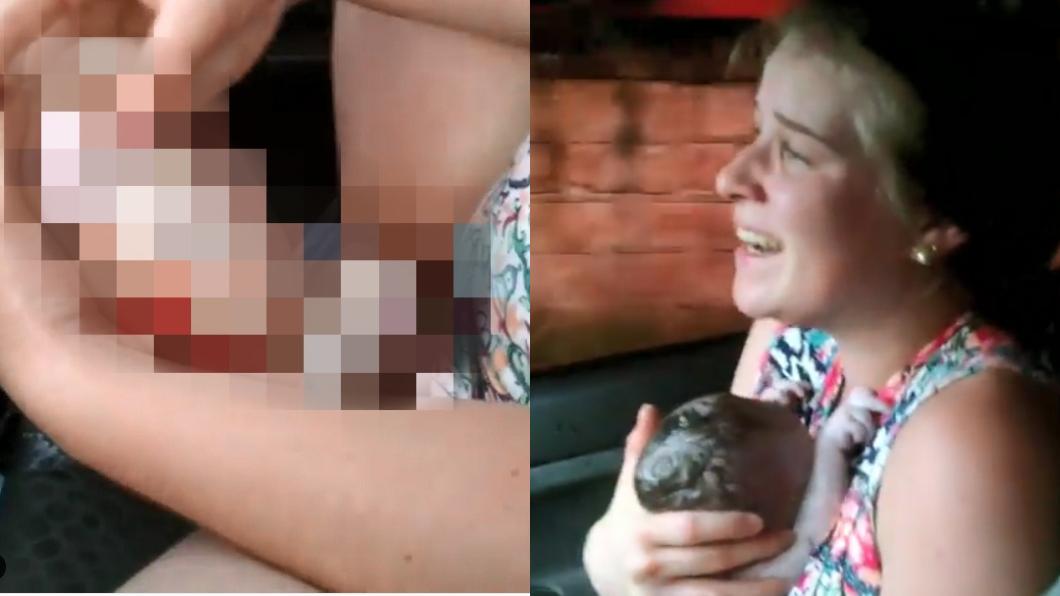 圖/翻攝自Instagram 太狂!孕妻車上瞬間產子 丈夫「秒變爸爸」邊錄邊哭