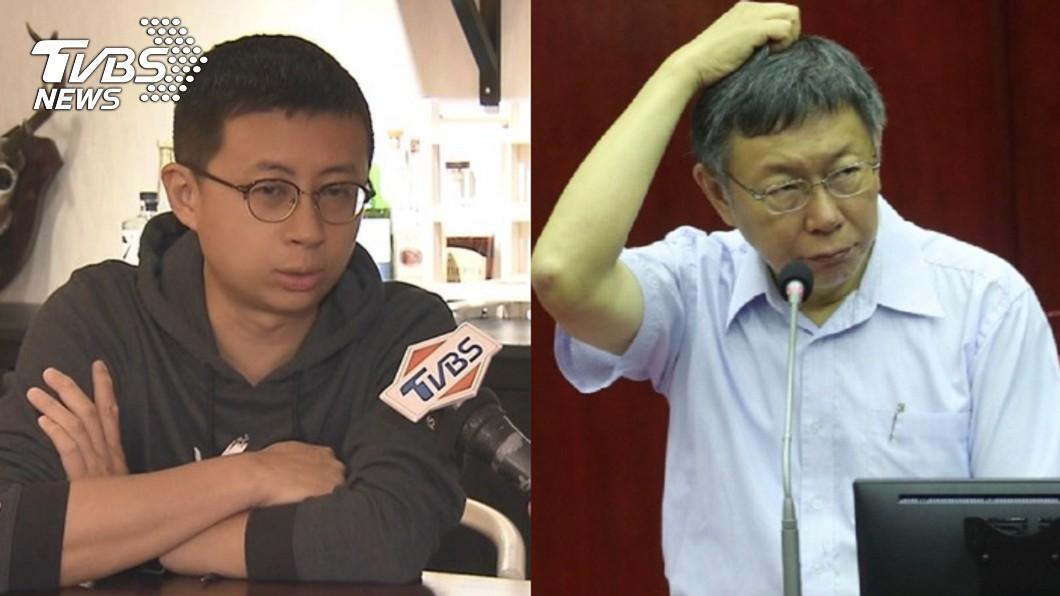 台北市議員「呱吉」邱威傑(左)、台北市長柯文哲(右)。圖/TVBS 治癌症vs.治內湖交通? 呱吉曝「地獄梗笑話」網讚爆