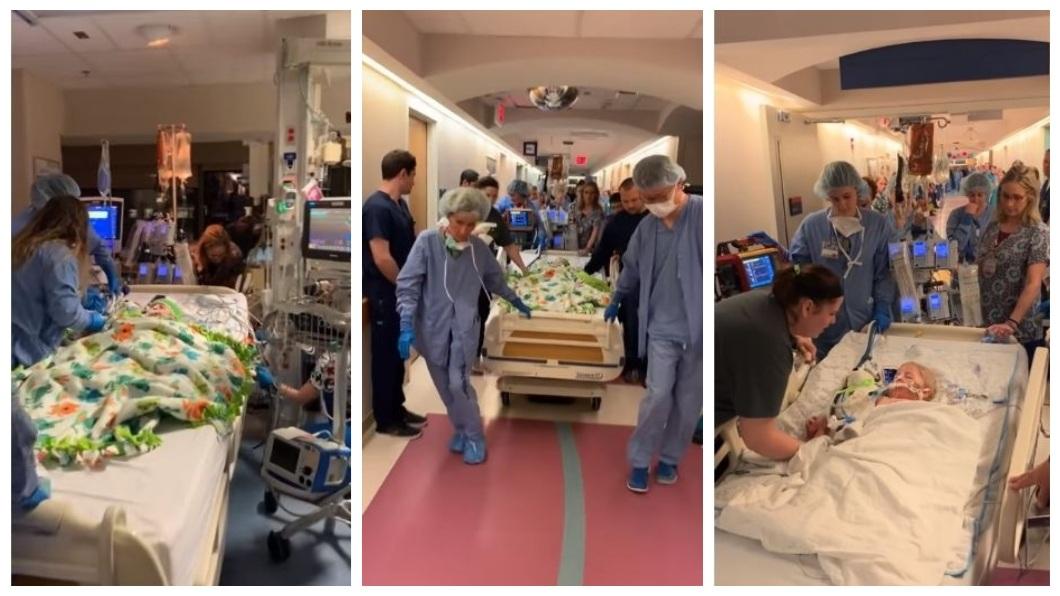 小女嬰的父母展現大愛,幫孩子器官捐贈救了3人,醫護人員列隊致敬送她最後一程。(圖/翻攝自YouTube)