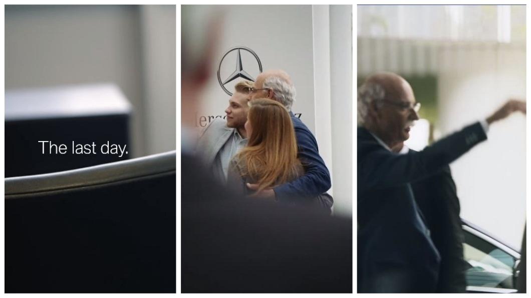賓士執行長蔡澈22日正式退休,離開前員工們一一不捨地和他合照和打招呼。(合成圖/翻攝自臉書粉絲團) 做自己?賓士執行長退休爽開BMW兜風 賓士這樣回應…