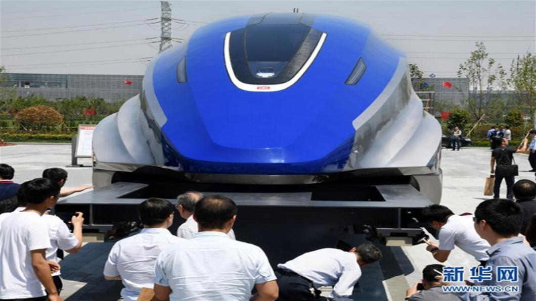 圖/翻攝自 新華網 大陸高速磁浮列車亮相 最快時速600公里