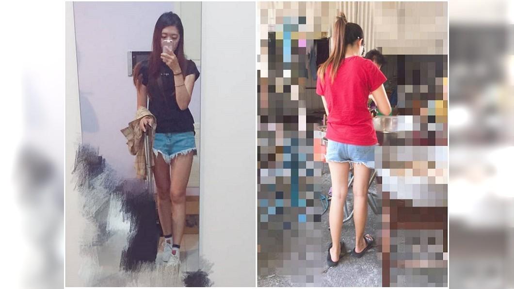 吳姓網友遭路人阿姨批評時,就是穿著這件短褲。圖/吳姓網友提供