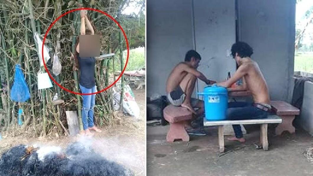 圖/翻攝自 Khao Sod新聞網 綑綁女友「稻草煙燻」4小時 惡男一旁飲酒作樂