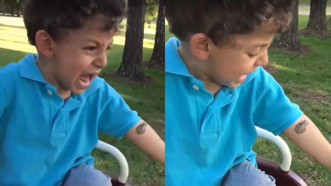 圖/翻攝自 推特 青蛙黏手臂嚇哭男孩 媽手指一戳…崩潰了