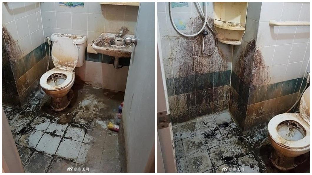 泰國一名女子租屋9年,但幾乎從不打掃,尤其是浴廁的景象,讓人看了險嚇暈。(圖/翻攝自泰國網微博) 女租屋9年從未打掃…浴廁汙垢超頑強 網驚:住得下去?