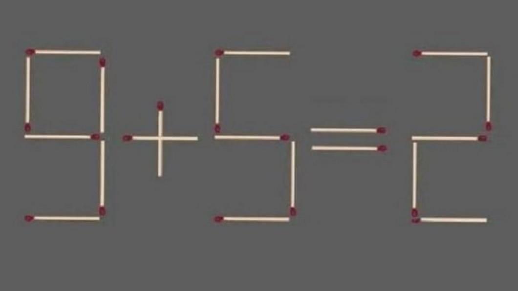 網路上流傳這道題目,網友們看到全都想破頭了。(圖/翻攝自網路) 小學數學?移動1根火柴得出「9+5=2」 眾人被考倒