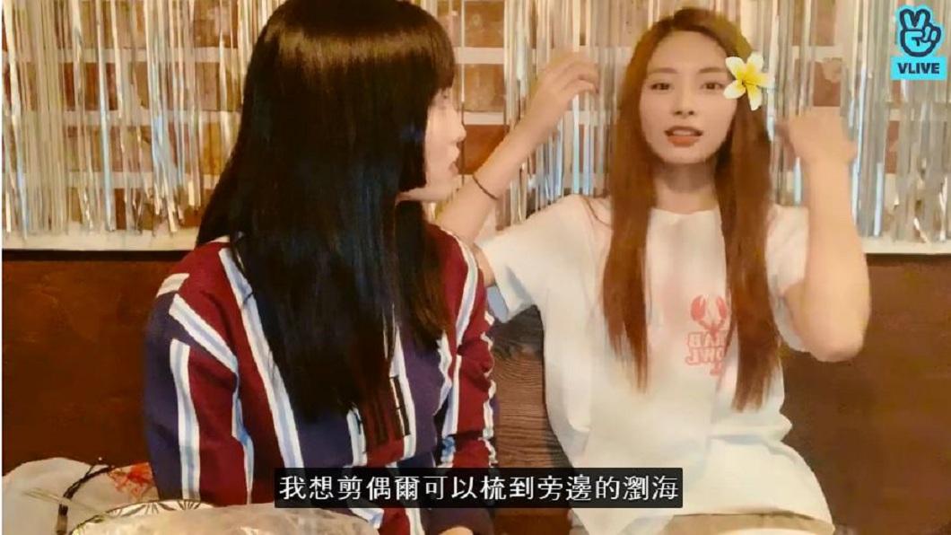 周子瑜日前和成員Momo討論髮型問題。(圖/翻攝自TWICE官方網站)