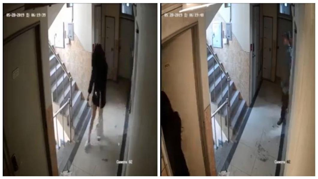 南韓首爾一名女子清晨返家時,遭到陌生男子跟蹤尾隨。(圖/翻攝自臉書) 晚1秒就出事!醉女返家遭尾隨 噁男伸手擋門狂按密碼鎖