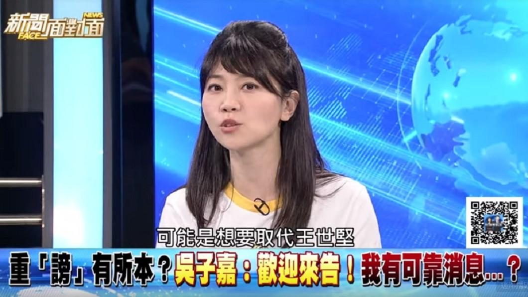 高嘉瑜認為吳子嘉爆料韓國瑜,是想取代王世堅成為新一代「扶龍王」。圖/翻攝Youtube