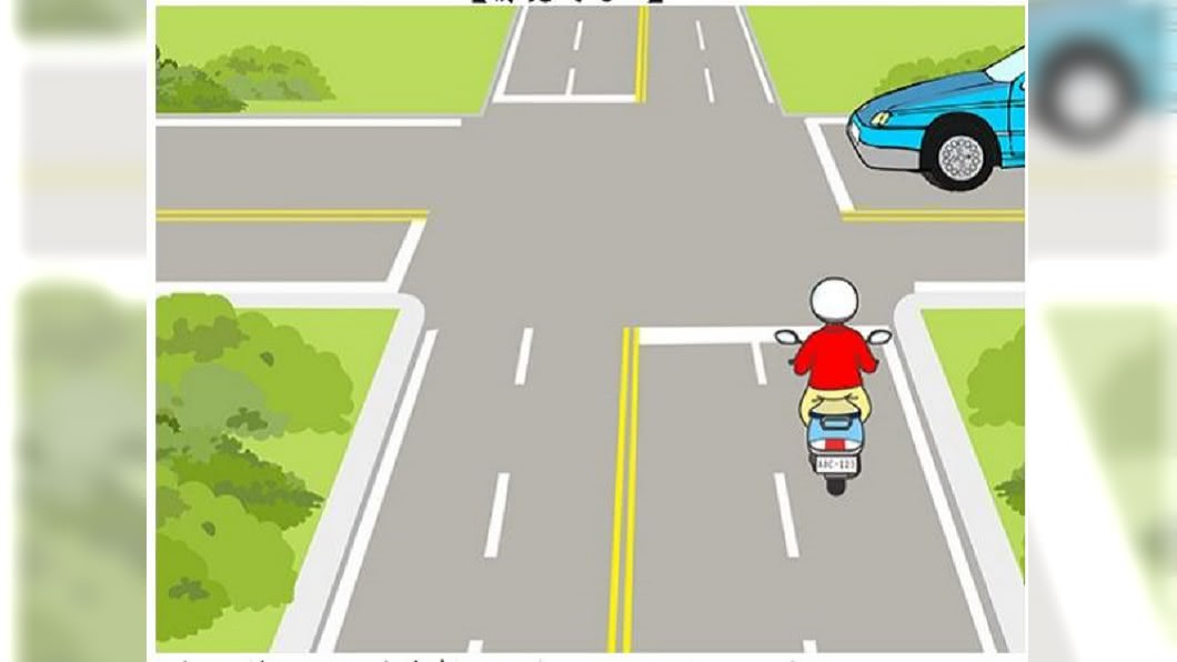 機車考照魔王題!無號誌路口該怎麼騎?半數考生會答錯!圖/截自公路總局題庫 魔王考題!這題機車駕照情境題 竟有逾半考生都答錯