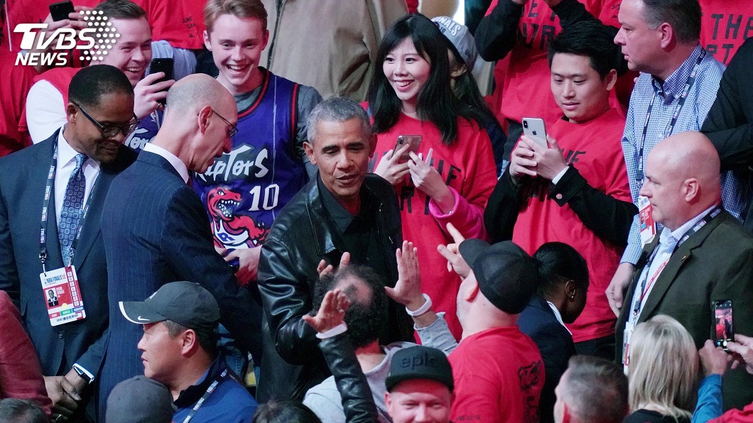 圖/達志影像路透社 NBA總冠軍賽 歐巴馬多倫多觀戰全場高呼MVP