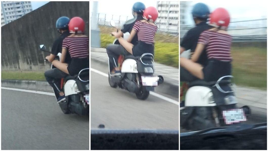 有網友分享一對情侶機車雙載的景象。(圖/翻攝自臉書社團「職業聯結車 大貨車 大客車 拉拉隊 運輸業 照片影片資訊分享團」)